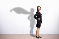 Superhero Business Woman. With white wall background, great for your design or text, asian