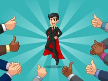 Superhero businessman in black suit with many thumbs up and clapping hands Stock Photography
