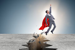 The superhero businessman escaping from difficult situation. Superhero businessman escaping from difficult situation Royalty Free Stock Photos
