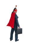 Superhero businessman fist pumping on white Stock Photography