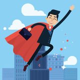Superhero Businessman Flying to Work Royalty Free Stock Images