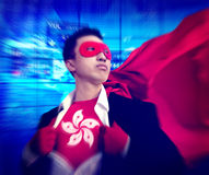 Superhero Businessman Hong Kong Stock Market Concept Royalty Free Stock Images