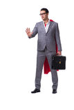 The superhero businessman isolated on white background. Superhero businessman isolated on white background Royalty Free Stock Photography