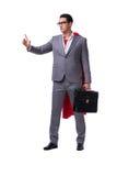 The superhero businessman isolated on white background. Superhero businessman isolated on white background Royalty Free Stock Images