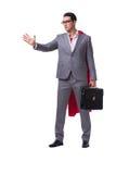 The superhero businessman isolated on white background. Superhero businessman isolated on white background Stock Photography