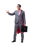 The superhero businessman isolated on white background. Superhero businessman isolated on white background Stock Photos