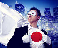 Superhero Businessman Japanese Cityscape Concept Stock Photos