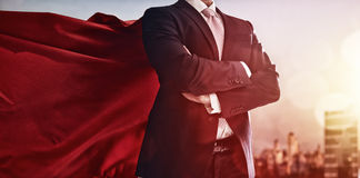 Free Superhero Businessman Looking At City Stock Images - 66147414