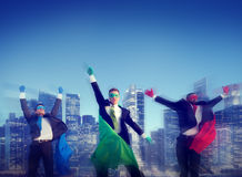 Superhero Businessman New York Concepts Stock Images
