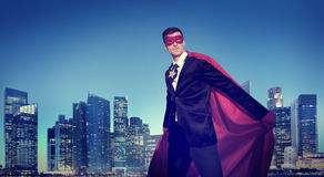 Superhero Businessman New York Concepts Stock Photography
