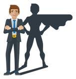 Superhero Businessman Shadow Cartoon Mascot royalty free illustration