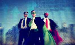 Superhero Businessman Stock Market Concept.  stock photo
