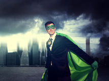 Superhero Businessman Strength Cityscape Cloudscape Concept Stock Photos