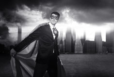 Superhero Businessman Strength Cityscape Cloudscape Concept Royalty Free Stock Images
