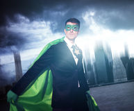 Superhero Businessman Strength Cityscape Cloudscape Concept Stock Photos