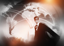 Superhero Businessman World Connection Concept Royalty Free Stock Image