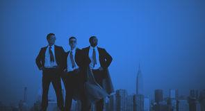 Superhero Businessmen In front of New York City Stock Photo
