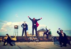 Superhero Businessmen Industrial Outdoor Concept Stock Image