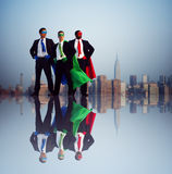 Superhero Businessmen Infront of New York City Royalty Free Stock Photography