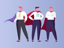 Superhero Businessmen Wearing Cloaks Isolated. Males working in business field vector, isolated people wearing suits with tie have letter on shirt, cloaks and royalty free illustration