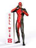 Superhero call me sign. Superhero wearing red and black costume with call me sign stock illustration