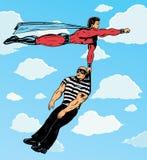 Superhero capturing villain. Stock Images