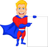 Superhero cartoon with blank sign Stock Photography