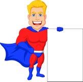 Superhero cartoon with blank sign Stock Photography