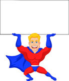 Superhero cartoon with blank sign Stock Images