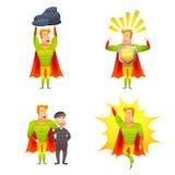 Superhero cartoon character power icons set Royalty Free Stock Image