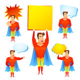 Superhero cartoon character with speech bubbles Royalty Free Stock Image