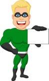 Superhero cartoon holding name card Stock Photos