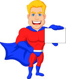 Superhero cartoon holding name card Royalty Free Stock Photography