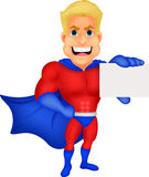 Superhero cartoon holding name card Stock Photo