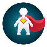 Superhero cartoon personage in red mantle. And hero sign on breast Stock Photography