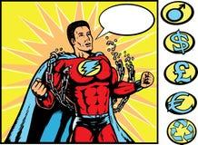 Superhero cassant des réseaux. Photos stock