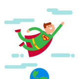 Superhero character fly away from Eath Royalty Free Stock Photography