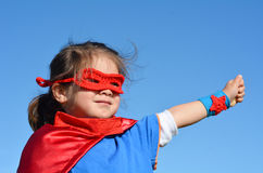 Superhero child - girl power Stock Photos