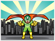 Superhero in the city. A cartoon illustration of a superhero defend the city Royalty Free Stock Image