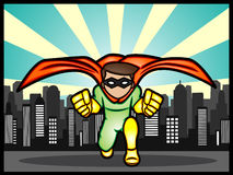 Superhero in the city. A cartoon illustration of a little superhero defend the city Stock Image