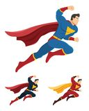 Superhero with clenched fist ready to fight. Superhero in action. Below are 2 additional versions. No gradients used Royalty Free Stock Photo