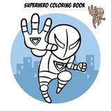 Superhero Coloring Book. Comic character isolated on white background Stock Photos