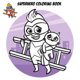 Superhero Coloring Book. Comic character isolated on white background Royalty Free Stock Photography