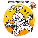 Superhero Coloring Book. Comic character isolated on white background Stock Image