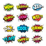 Superhero comic book bubbles set, cool blast and crash sound effect