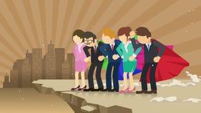 Superhero commercieel team die zich op klip klaar voor uitdaging bevinden Commercieel teamsymbool Groepswerk en succesconcept Gra stock illustratie