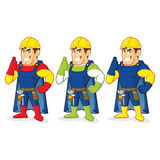 Superhero construction guy. Clipart picture of a superhero construction guy cartoon character Stock Images