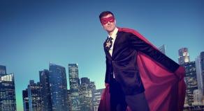Superhero Costume Businessman Cityscape Concept Royalty Free Stock Images