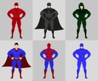 Superhero costumes flat vector illustration Royalty Free Stock Images