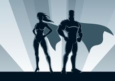 Superhero Couple stock illustration